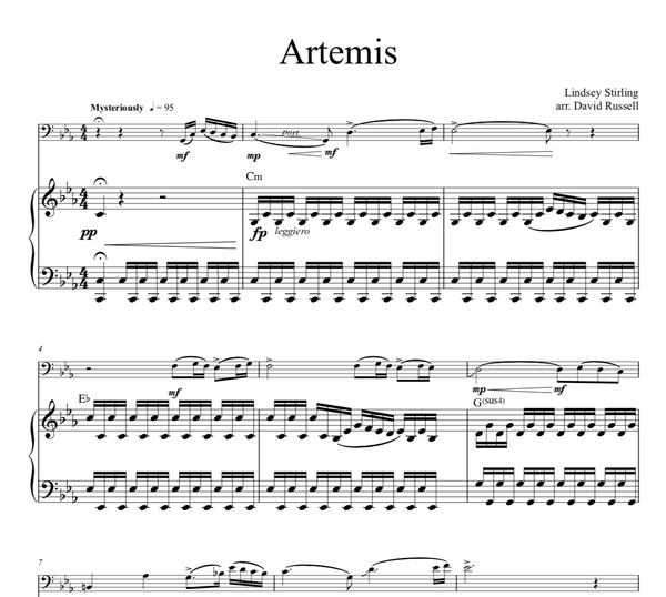 Cello Artemis w/ Karaoke Play-Along Tracks - Sheet Music
