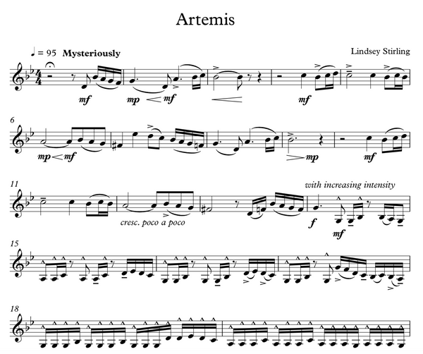 Artemis w/ Karaoke Play-Along Track - Sheet Music