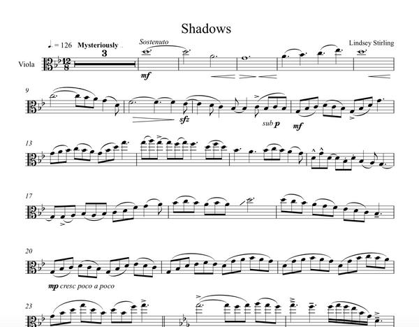 VIOLA Shadows Sheet Music w/KARAOKE