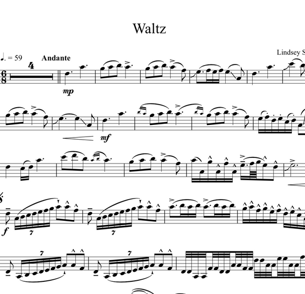 Waltz Sheet Music w/ Karaoke Play-Along Track - Sheet Music