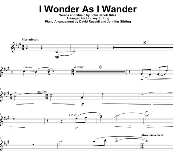 I Wonder As I Wander Sheet Music w/ Karaoke