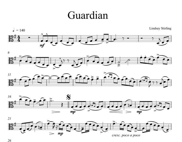 VIOLA Guardian Sheet Music w/ Karaoke