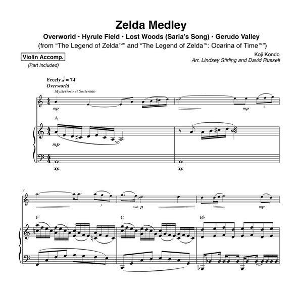 VIOLA Zelda Medley Duet w/ Piano Play-Along Track - Sheet Music