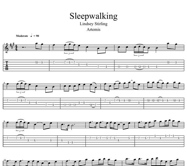 GUITAR - Sleepwalking - Sheet Music