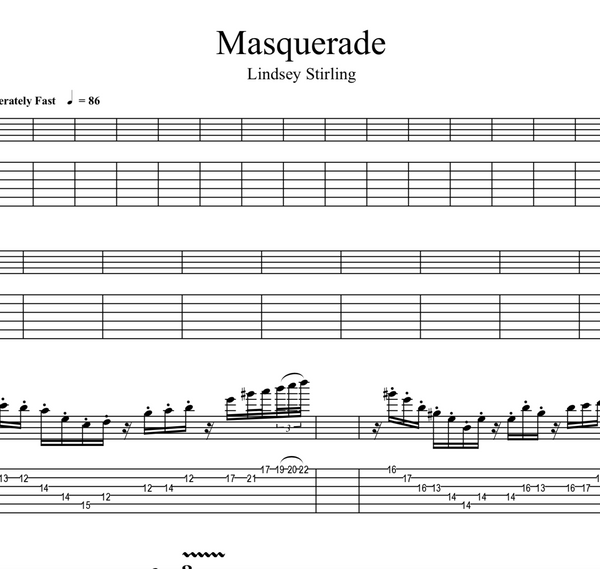 GUITAR - Masquerade w/ KARAOKE Play-Along Tracks - Sheet Music
