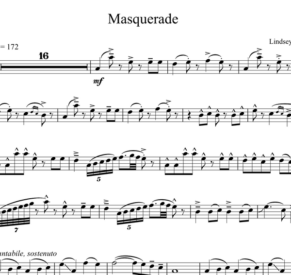 Masquerade Sheet Music w/ Karaoke Play-Along Tracks - Sheet Music