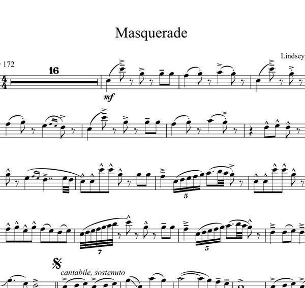 Cello Masquerade Sheet Music w/ Karaoke