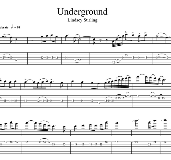 GUITAR - Underground w/ KARAOKE Play-Along Track - Sheet Music