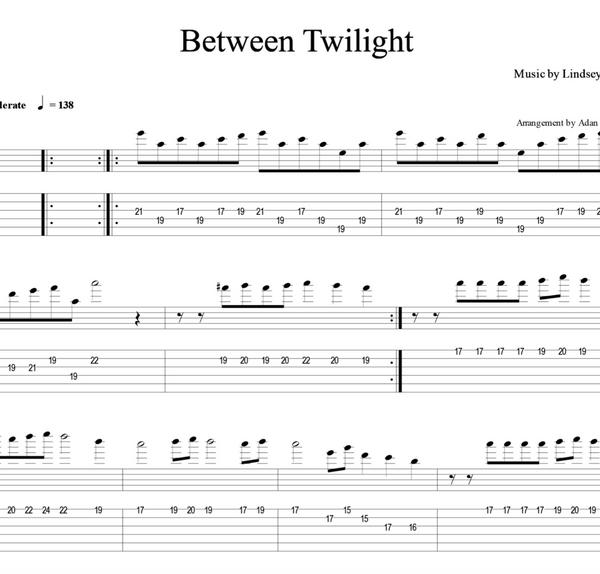 GUITAR - Between Twilight w/ Karaoke Play-Along Tracks - Sheet Music