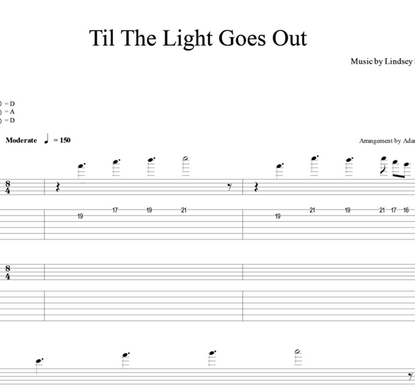 GUITAR - Til the Light Goes Out - Sheet Music