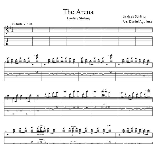 GUITAR - The Arena Sheet Music w/ Karaoke