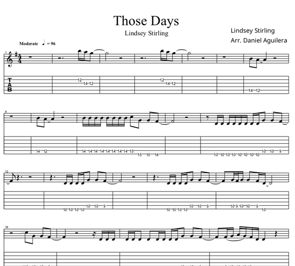 GUITAR Those Days Sheet Music w/ Karaoke