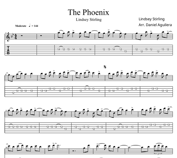 GUITAR The Phoenix Sheet Music w/ Karaoke
