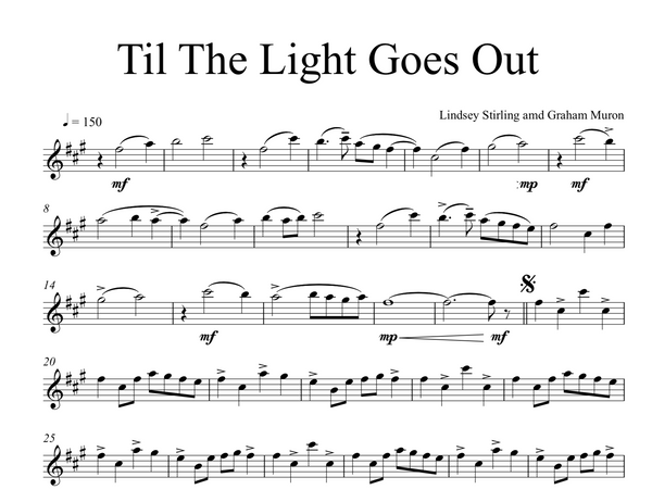 Til The Light Goes Out Sheet Music w/ Karaoke