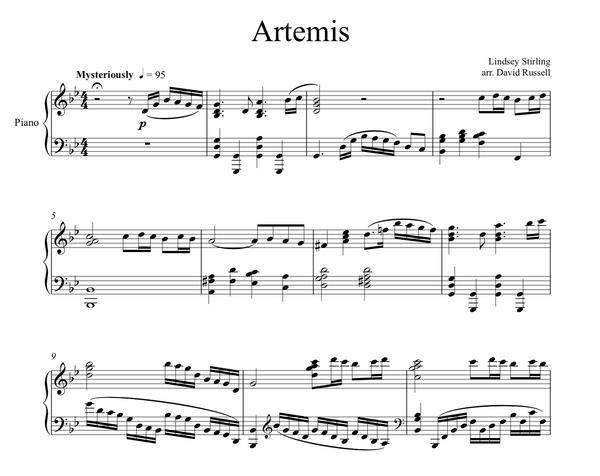 Artemis Album Piano Sheet Music Package