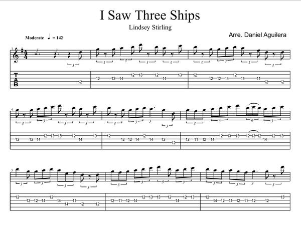 GUITAR I Saw Three Ships Sheet Music w/ Karaoke