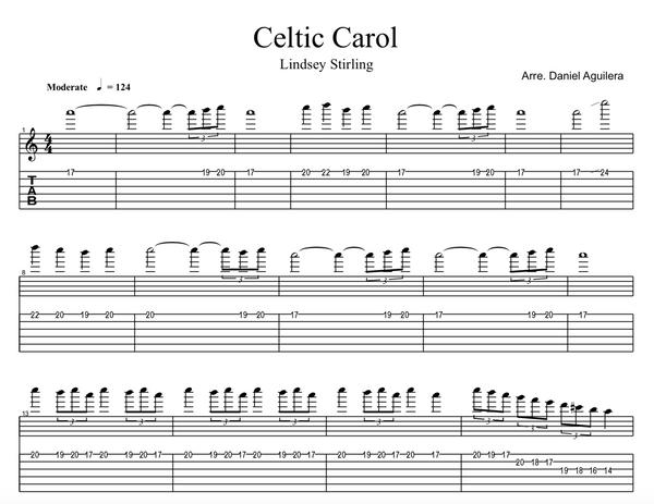 GUITAR Celtic Carol Sheet Music w/ Karaoke