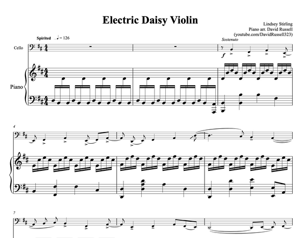 CELLO Electric Daisy Violin Sheet Music w/ KARAOKE