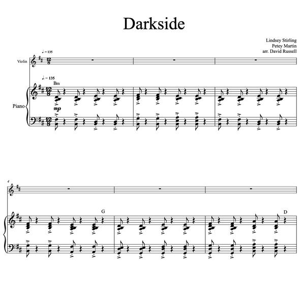 Darkside Sheet Music w/ Karaoke