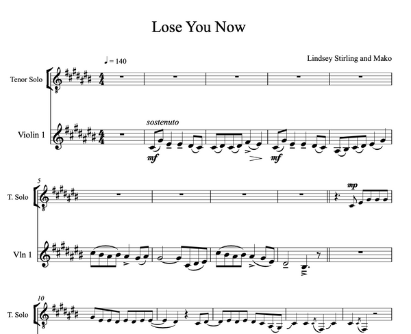 Lose You Now Sheet Music w/Piano Accompaniment