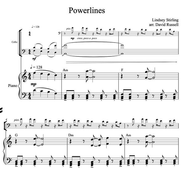 CELLO Powerlines Sheet Music w/ KARAOKE