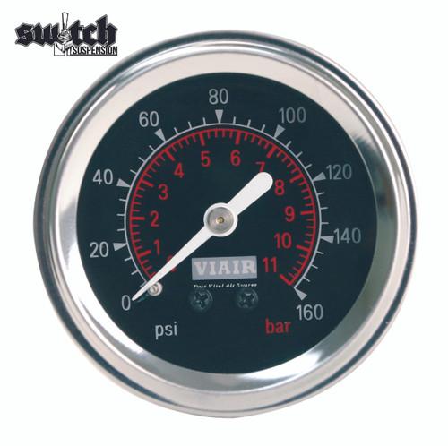 "Viair Single Needle 160 PSI 2.0"" Gauge Black Face - 90088"