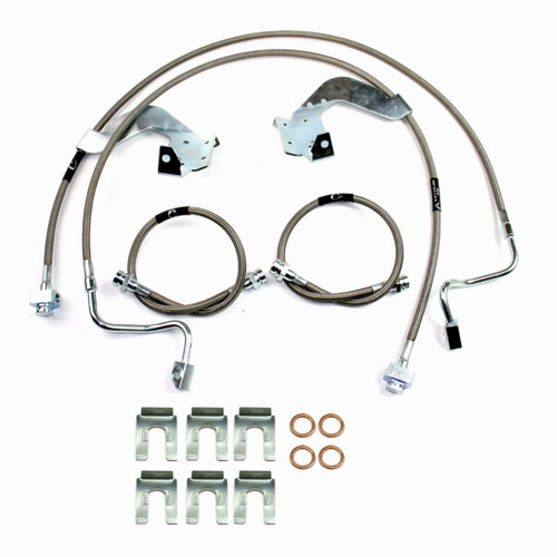 """Ford F-250/F-350 2011-2016 McGaughys Front and Rear Braided Brake Line kit for 6"""" and 8"""" Lifts"""