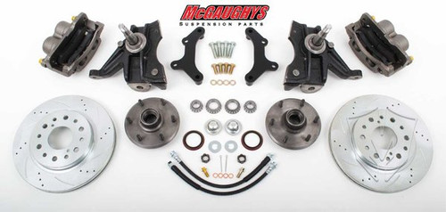"GMC C-10 1973-1987 13"" Front Cross Drilled Disc Brake Kit W/Drop Spindles; 6x5.5 Bolt Pattern  - McGaughys Part# 33301"