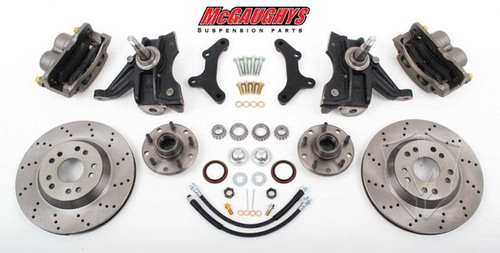 "GMC C-10 1963-1970 13"" Front Cross Drilled Disc Brake Kit & 2.5"" Drop Spindles; 5x4.75 Bolt Pattern - McGaughys Part# 63150"