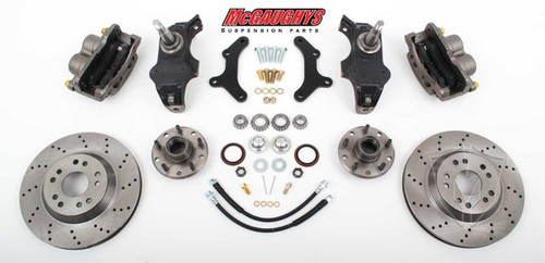 "Chevrolet Fullsize Car 1958-1964 13"" Front Cross Drilled Disc Brake Kit & 2"" Drop Spindles; 5x4.75 Bolt Pattern - McGaughys Part# 63258"