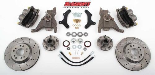 """Pontiac Firebird 1970-1978 13"""" Front Cross Drilled Disc Brake Kit & 2"""" Drop Spindles; 5x4.75 Bolt Pattern - McGaughys Part# 64078"""