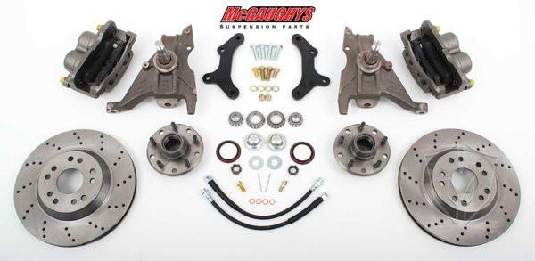 """Pontiac Firebird 1979-1981 13"""" Front Cross Drilled Disc Brake Kit & 2"""" Drop Spindles; 5x4.75 Bolt Pattern - McGaughys Part# 64080"""
