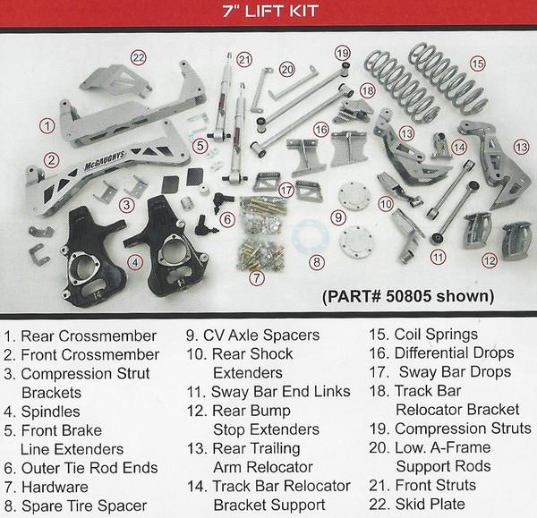 "Chevrolet Suburban 2015-2020 7"" McGaughys  SS Lift Kit"