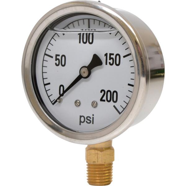 1 1/2in. Stainless Steel Glycerin Air Gauge — 0-200 PSI