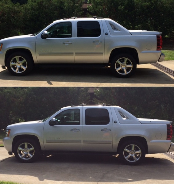 """2013 Chevrolet - McGaughys Rear Leveling Kit, Factory 20"""" Wheels & Tires (Before & After)"""