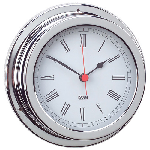 RWB Clock Chrome Standard Roman Numerals 120mm (RWB4555)