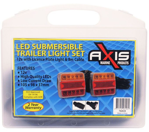 RWB Axis Trailer LED Lights - 8M Cable, 3 Plugs (RWB6539)