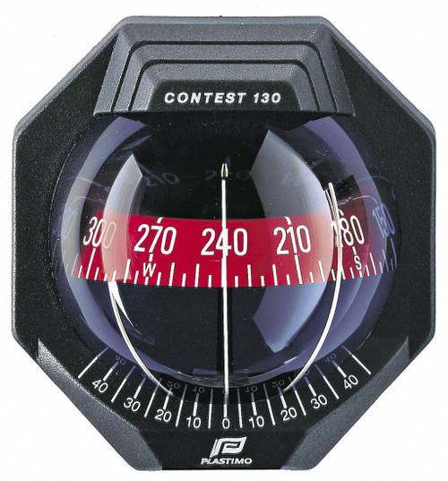Plastimo Contest 130 Compass with Bracket - Black with Red Card