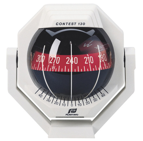 Plastimo Contest 130 Compass with Bracket - White with Red Card