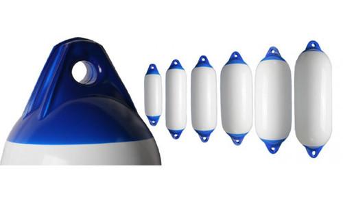 Heavy Duty Boat Fenders - White with Blue Ends (RWB1546-RWB1548)