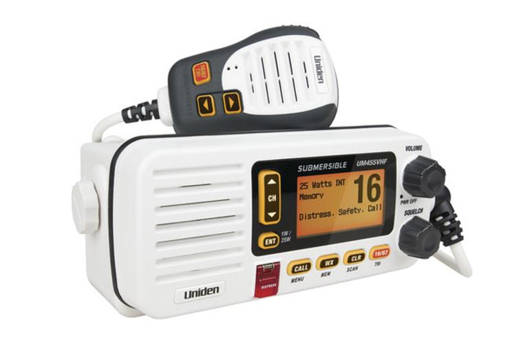 Uniden UM455VHF VHF In-Boat Marine Radio with Submersible Speaker Microphone (UM455VHF)