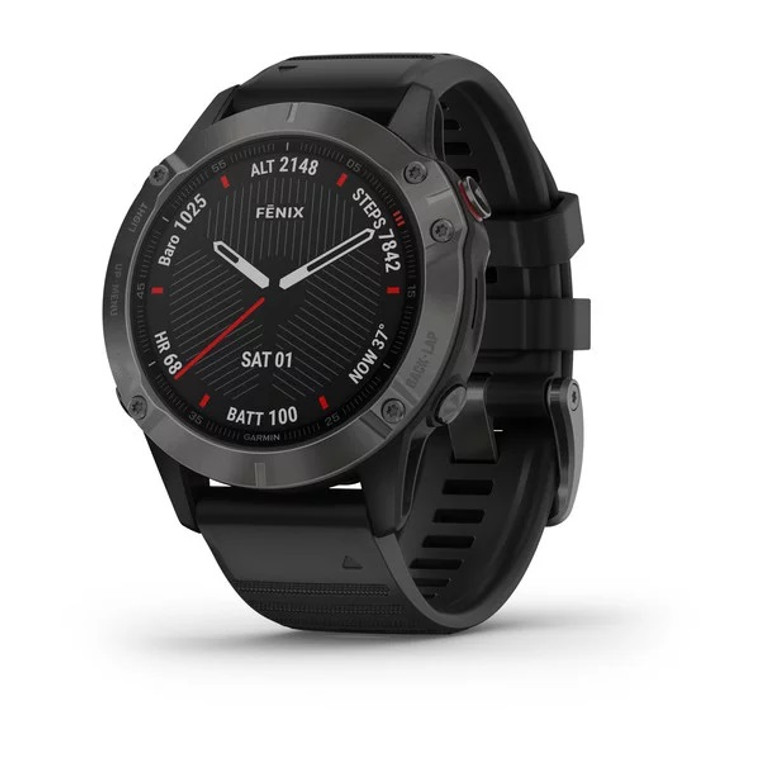 Garmin Fenix 6 Sapphire Smartwatch - Carbon Grey DLC with Black Band