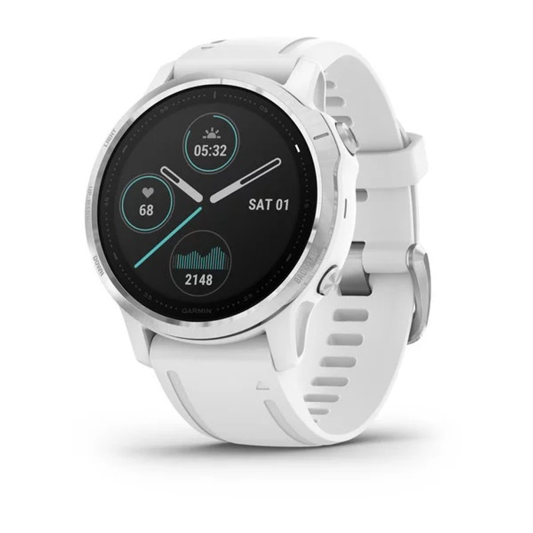 Garmin Fenix 6S Smartwatch - Silver with White Band