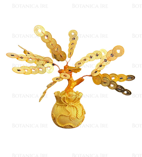 Gold Money Fortune Coins Tree in Money Bag | Chinese Coins Good Luck Tree | Wealth, Prosperity Tree Ornament