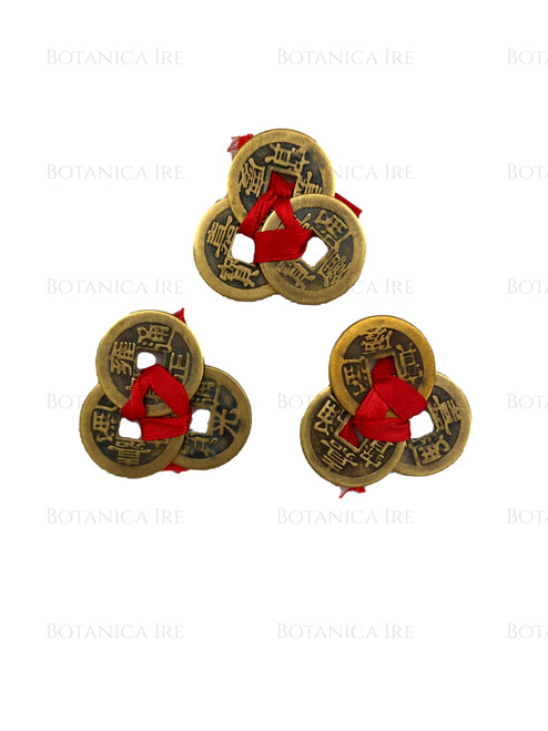 Chinese Fortune Coins | Three Chinese Coins Tied in Red Ribbon for Wealth | 3 Sets
