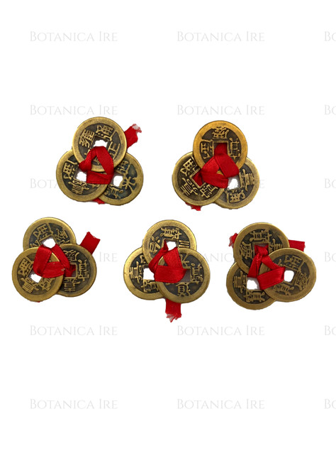 Chinese Fortune Coins | Three Chinese Coins Tied in Red Ribbon for Wealth | 5 Sets