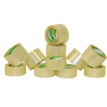 Mighty Tac Acrylic Tape - 72mm x 100M - 2.0 mil Clear (24 Rolls Per Case)