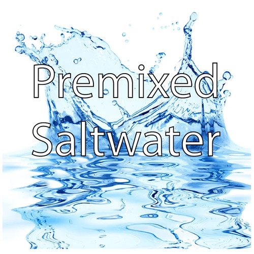 Our premixed saltwater has a specific gravity of 1.025 and is mixed using RO/DI water and Instant Ocean Salt Mix.