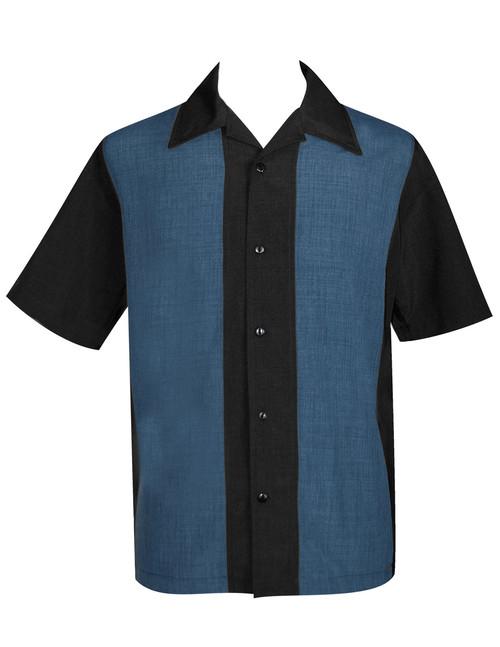 Steady Custom Poplin Shirt - Black/Blue