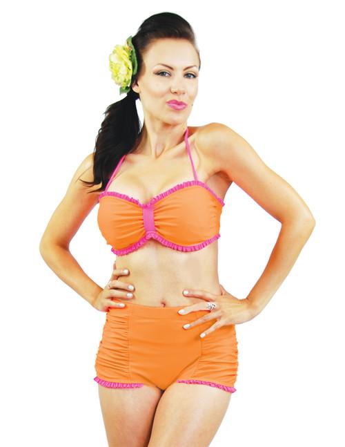 Steady Neon Orange Swimsuit